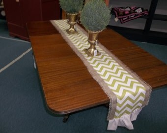 Burlap and Green Chevron Table Runner, table cloth, table covering