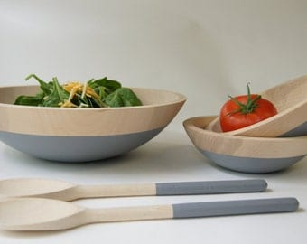 Wooden Salad Bowl Set, Large bowl, small bowls and salad servers, Grey, Summer Party, Picnic,Wedding Gift