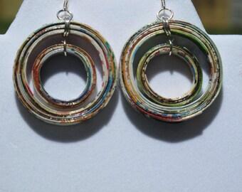 Handmade Double Hoop Recycled Magazine Earrings