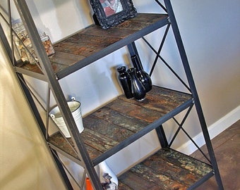 Industrial Rustic Bookcase. Vintage Style Shelving Unit Made with Historical Reclaimed Wood. Urban Loft Furniture. Custom Options Available.