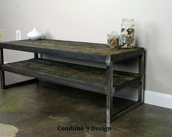 Vintage Industrial TV Stand. Reclaimed wood & Steel. Vintage wood from tsunami-destroyed barge. Minimalist,urban, design. A nice TV console.