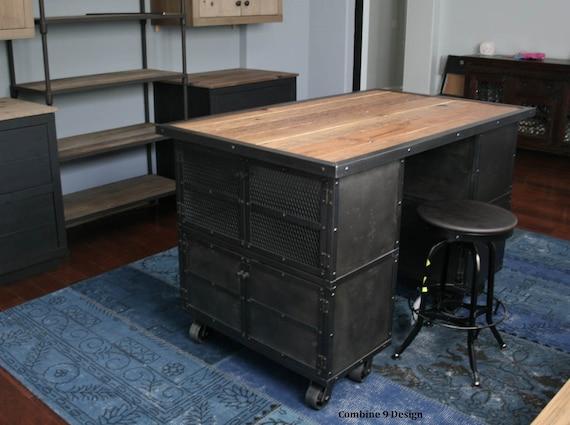 Kitchen island work station vintage industrial modern by leecowen - Vintage kitchen features work modern kitchen ...