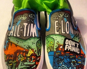 Custom Hand Painted All Time Low Slip Ons (NOT VANS BRAND)