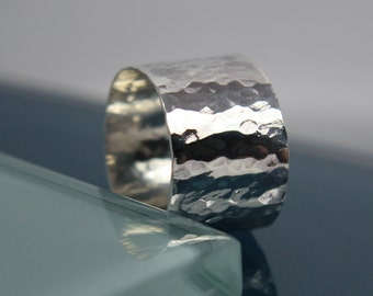 Wide Silver Ring Hammered Texture Sterling Silver Band Statement Eco Friendly Recycled
