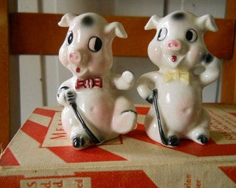 Pair of Ceramic Salt and Pepper Shakers - Pigs With Bow Ties and Canes