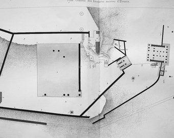 GREECE Ruins of Sacred Site at Eleusis Propylaea Plan & Capitals Details - 1886 Antique Print