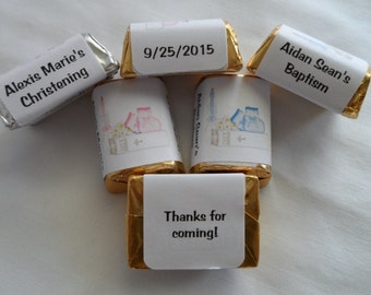 30 Unique Personalized Christening, Baptism Party Favor Hershey's nugget labels, candy wrappers