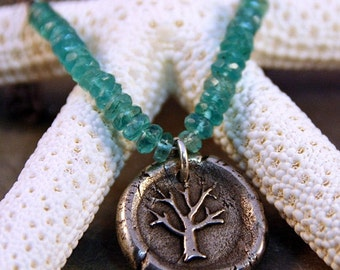 White Bronze Silver Subsitute Tree of Life Wax Seal Pendant with Blue Green Apatite Heishi Beads Sterling Silver Chain