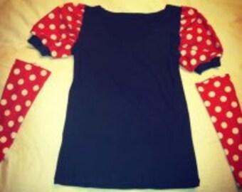 Polka dot running shirt and sleeves