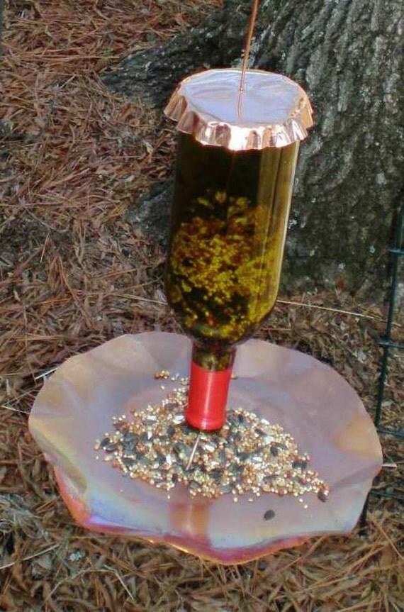 Mangeoire oiseaux cuivre et bouteille de vin livraison - Mangeoire oiseaux bouteille ...