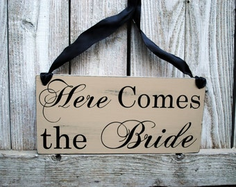 Here Comes the Bride And They Lived Happily Ever After wood wedding sign for Ring Bearer Flower Girl DOUBLE SIDED