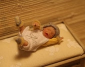 Miniature dollhouse OOAK Baby boy crying  1/12 scale