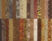 """DESTASH Quilt Fabric Cotton 5"""" Squares Brown Charm Pack"""