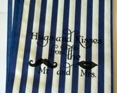 50 Navy Blue Stripe retro 'Hugs and Kisses...' candy buffet bags, wedding cake bags,candy station bags, favor bags