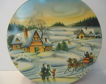 Christmas Cookie Tin Vintage Horse and Carriage Winter Scene