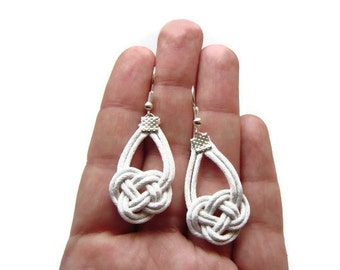 White Earrings, Knot Earrings, Nautical Earrings, Sailor Knot Earrings, Cord Rope Earrings, Dangle Earrings, Statement Jewellery