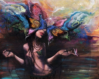 Vibrational Undulations - Large Fine Art Print, giclee, art prints, paper prints, butterfly, visionary art