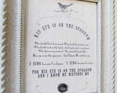 """His Eye is on the Sparrow Original Hymn Print  on Fabric - 8 x 10"""" - PRINT ONLY"""