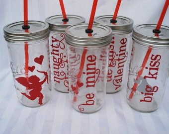 I LOVE YOU Red Cupid red heart love you Mason Jar with Red BPA Free Straw 24 oz large (One)