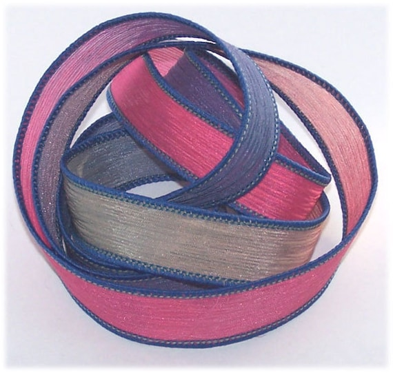 Sassy Silks Hand Painted/Dyed Silk Ribbon Blue Eclipse