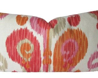 Decorative Designer Ikat Abstract Paisley, Orange, Pink, Lumbar or 18x18, 20x20, 22x22  Throw PIllow