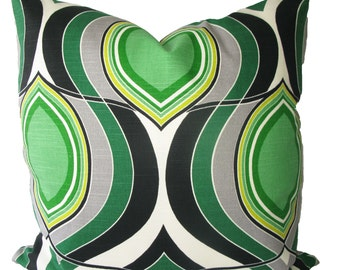 Decorative Designer Mod Retro Emerald Green HGTV Pillow Cover, Geometric Swirls, 18x18, 20x20, 22x22 or Lumbar, Throw Pillow