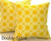 Pillow cover 18 x 18, 20 x 20 Yellow geometric accent pillow cover  Double Sided