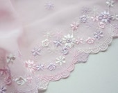 Clearance Sale Last 9Yards Unique Lavender Pink Chiffon With Embroidery Lace Trims 22cm Wide