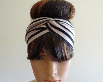 Tan And Black Striped Head Wrap.Striped Headband
