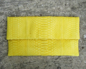 OVERSIZE - Yellow Fold Over Python Snakeskin Leather Clutch Bag