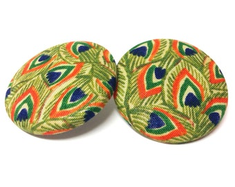 Extra Oversized Javanese Peacock Print Button Earrings