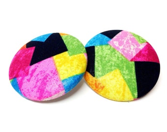 Extra Oversized Multicolor Block Square Print Button Earrings