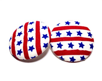 Oversized Patriotic Stars and Stripes Print Button Earrings