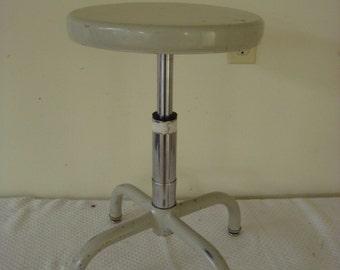 Vintage Industrial Metal Drafting Doctor Science Lab Adjustable Biofit  Stool