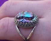 silver purple/green scarab ring