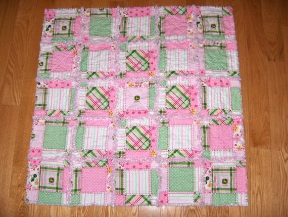 John Deere Fabric Baby Girl Pink Rag Quilt Tractor Floral