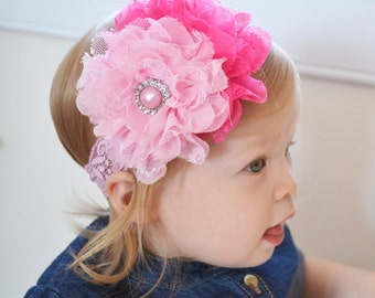 Birthday Headband, Baby headband, Extra Large Flower Headband, Pink Pearl rhinestone, Newborn headband, toddler headband, baby girl