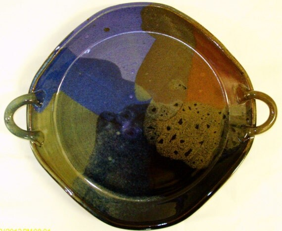 Serving handled Platter in my new Purple.Blue,Red and Black combination glaze...