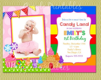 Candyland Birthday Invitation - FREE thank you card included
