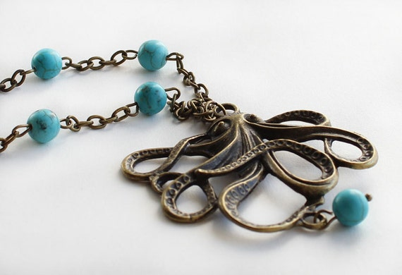 SALE - Octopus necklace antique bronze turquoise stones summer necklace gift for her best friend birthday