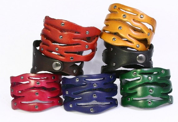 Leather Cuff with Round Studs. Cute, Cut-out Leather Design. Retro feel with fun assortment of colors. Genuine leather bracelet. B025