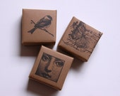Origami Boxes - Wedding Favor Paper Boxes - Rustic Stamped - Brown Wedding Party Favor Boxes - Eco-friendly - Vintage Like
