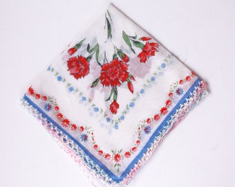 Flower Handkerchief Printed - White Red Pink Blue Green Yellow Cotton - Vintage - Retro