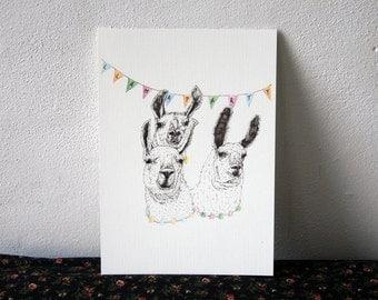 Llama Party 15x21 print