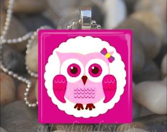 OWL LOVER Pink Love Friendship Friend Glass Tile Pendant Necklace Keyring