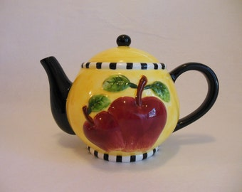 Porcelain Flowered Ceramic Handpainted Tea Pot with Apples * Garden Tea Party * Country Cottage Tea Pot