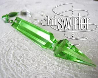 Depression glass green prism Suncatcher, vintage chandelier crystal, rainbow maker, beaded sun catcher, Prosperity Chi-Swirler