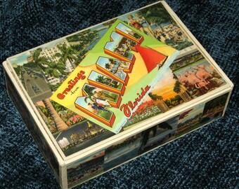 MIAMI FL travel postcard decoupage cigar box