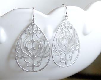 Peacock Earring in Silver - Filigree Drops on 925 Sterling Silver Earwire - Silver Earrings - Silver Drop Earrings - Everyday Jewelry