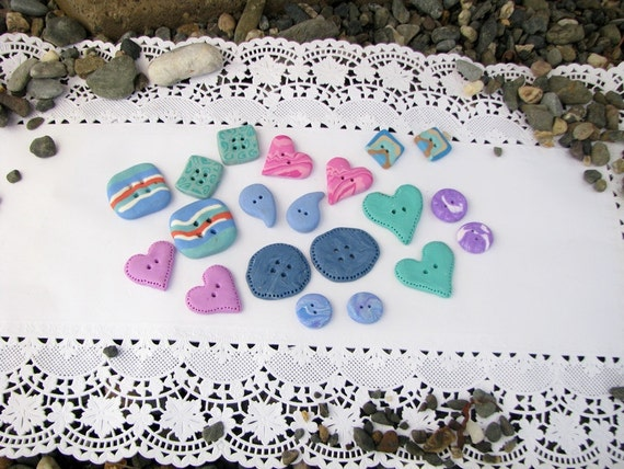 handmade buttons - blue, lavander, green, pink... - set of 20 - valentines gift